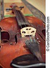 primer plano, violín, en, vendimia, estilo