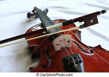 primer plano, violín, instrumento música
