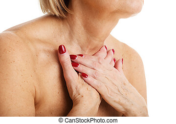 primer plano, vista, de, adulto, mujer, con, glándula de tiroides, aislado, blanco, plano de fondo