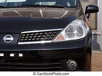 primer plano, vista delantera, de, un, moderno, coche