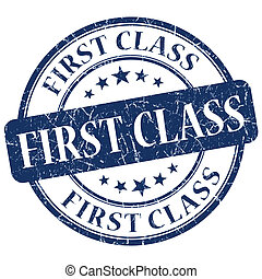 primera clase, azul, grunge, estampilla