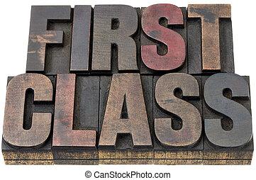 primera clase, en, madera, tipo