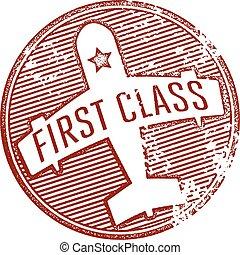 primera clase, viaje, estampilla