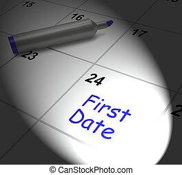 primera fecha, calendario, exhibiciones, ver, alguien, y,...
