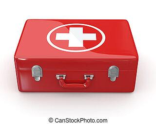 primero, aids., médico, kit., 3d