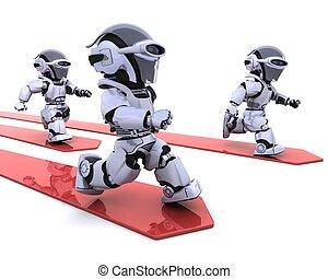 primero, carrera, robotes