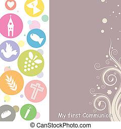 primero, comunión, tarjeta, invitación