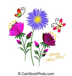primero de mayo, colorido, flor, y, mariposa