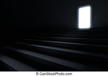 primero, pasos, luz, oscuridad