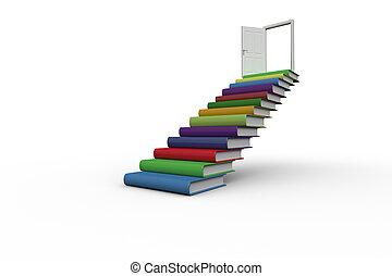 primero, puerta abierta, pasos, libros, hecho