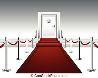 primero, puerta, alfombra roja