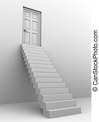 primero, puerta, escaleras, 3d