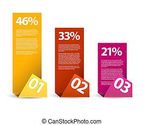 primero, segundo, tercero, -, vector, papel, infographic,...