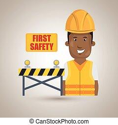 primero, seguridad, trabajador, icono
