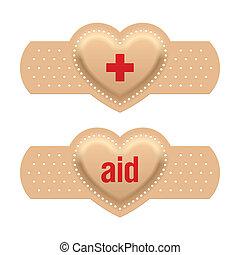 primeros auxilios, con, amor