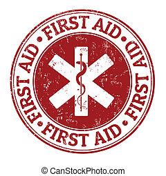 primeros auxilios, estampilla