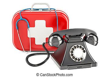 primeros auxilios, servicio, concepto, teléfono, en, médico, kit., 3d, interpretación