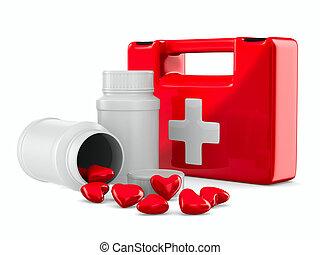 primeros auxilios, y, corazones, blanco, fondo., aislado, 3d, imagen