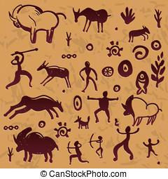 primitív, alapismeretek, -, kéz, vektor, tervezés, rajz