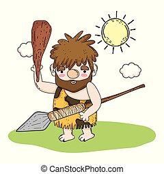 primitív, ember, lándzsa, vadászat, kalapács