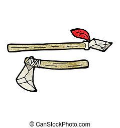 primitív, karikatúra, lándzsa, fejsze