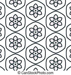primitív, virág, egyszerű, motívum, seamless, retro