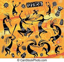 primitief, figuren, stijl, dancing