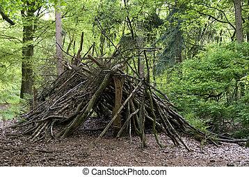 primitief, hout, weefgaap (weefsprong
