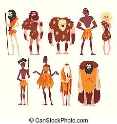 primitief, prehistorisch, mensen, set, mannen, karakter, ...