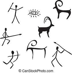 primitif, aimer, caverne, figures, regarde, peinture