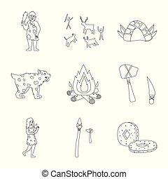 primitif, ancien, symbole, objet, web., isolé, collection, époque, icon., stockage