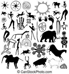 primitif, art, caverne, -, vec, peinture