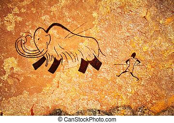 primitif, chasse, peinture, caverne