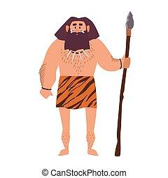 primitif, guerrier, peau, humain, isolé, arrière-plan., ...