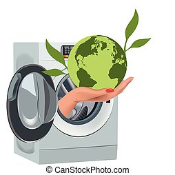 primitif, lavage, écologie, terre verte