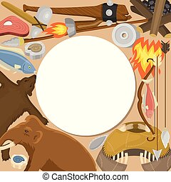 primitif, neanderthals, fish, equipment., homo, outils, ...
