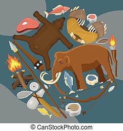 primitif, neanderthals, ménage, equipment., homo, éteint, outils, ancien, chasse, modèle, armes, sapiens., vie, pierre, animals., évolution, préhistorique, illustration., species., âge, ou, vecteur, rond