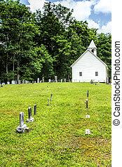primitiv, baptist, friedhof, kirche