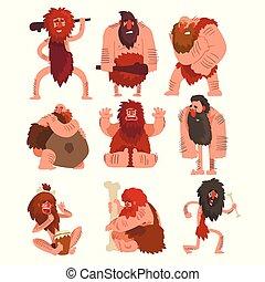 primitiv, forhistoriske, cavemen, sæt, ælde, karakter, sten, vektor, baggrund, illustrationer, hvid, cartoon, mand