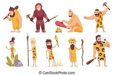 primitiv, satz, tiere, illustration., cavemen, leute, fell, waffe, heiligenbilder, stein, freigestellt, vektor, uralt, karikatur, alter