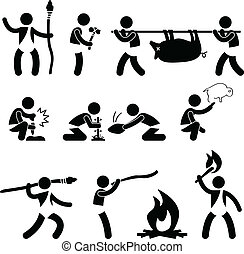 A set of pictogram representing ancient man hunting, making fire, drawing, and using fire.