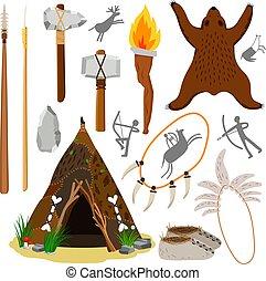 Primitive caveman elements