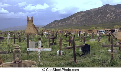 Primitive Cemetery Pueblo Native - A ook across a native...