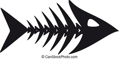 primitive fish skeleton - primitive, rough image of fish...