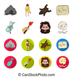 Primitive, fish, spear, torch .Stone age set collection icons in cartoon, flat style bitmap symbol stock illustration web.