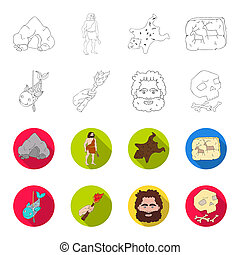 Primitive, fish, spear, torch .Stone age set collection icons in outline, flat style bitmap symbol stock illustration web.