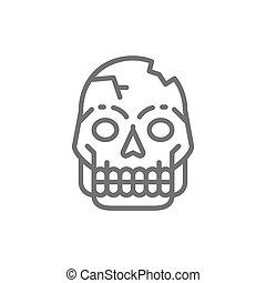 Primitive man skull, Pithecanthropus bones, human remains line icon.