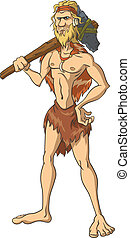 Primitive man stands with an ax on his shoulder. The isolated illustration.