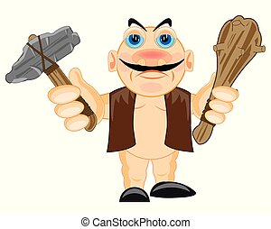 Primitive person with stone gavel and bat