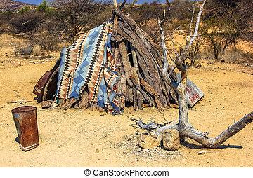 Primitive shelter - Makeshift shelter waiting for better ...